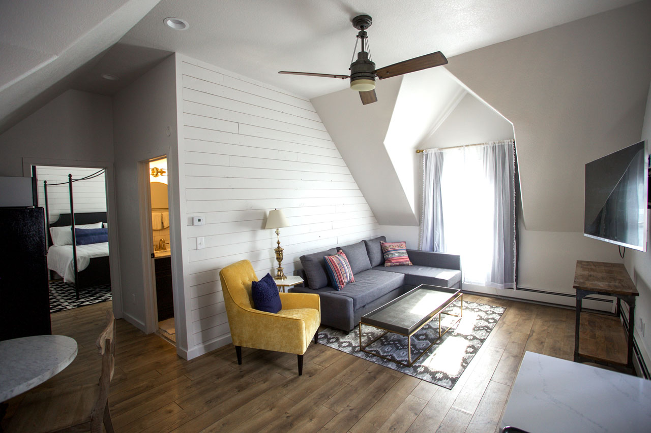 Carriage house living area for small family