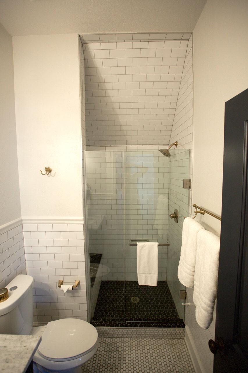large hotel shower and bathroom interior design