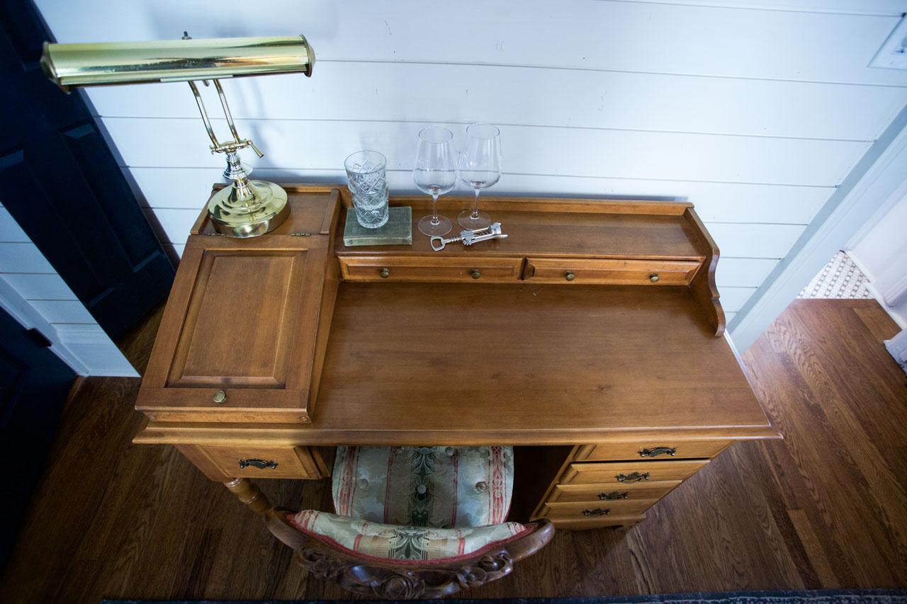 antique desk in hotel room