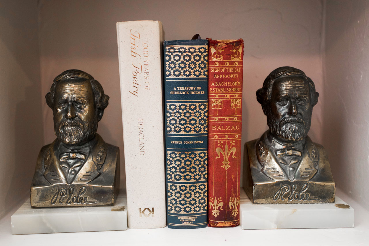 eclectic bookends in hotel room
