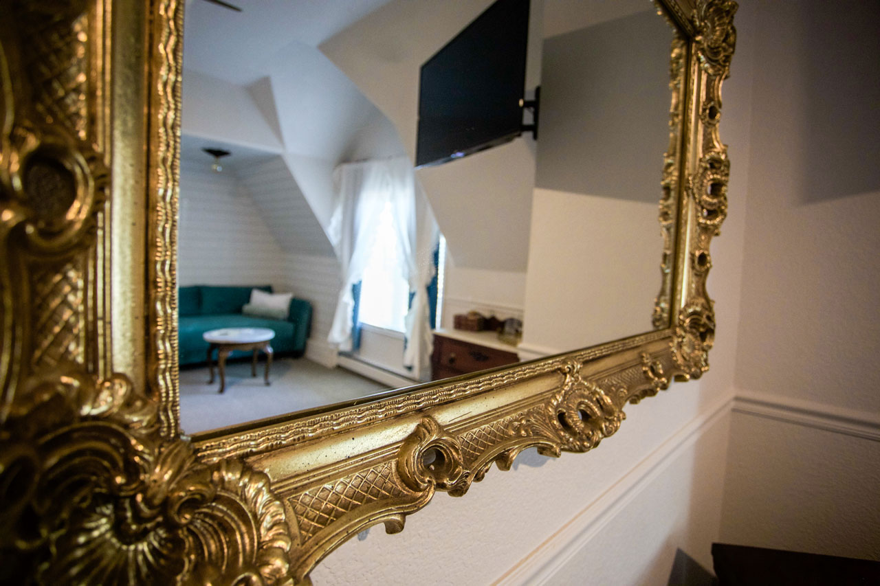 vintage mirror in hotel suite